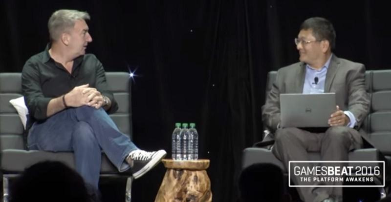Roy Taylor of AMD and Dean Takahashi at GamesBeat 2016.