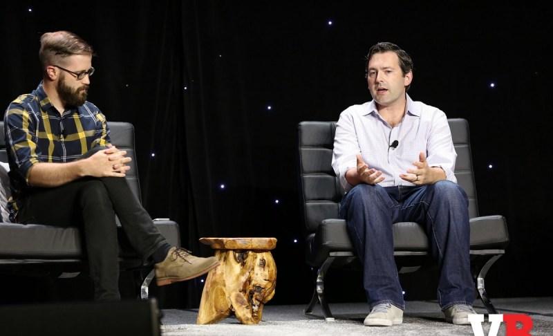 Taylor Cocke (left) of Yahoo Esports and Sean Haran of Riot Games at GamesBeat 2016.