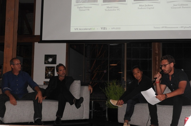Investor panel at UploadVR (left to right): Jon Goldman, Marc Jackson, and Taylor Freeman.