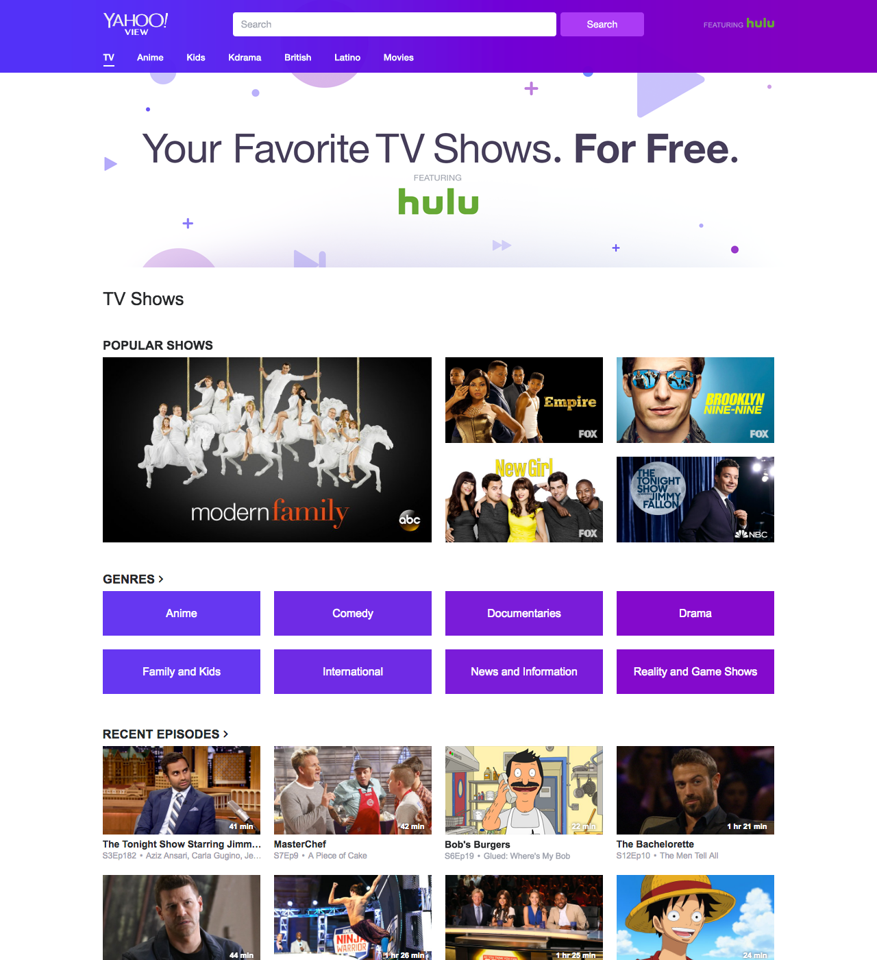 Yahoo View lets you search by genre and any shows on Hulu.