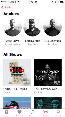 Apple Music radio anchors screenshot
