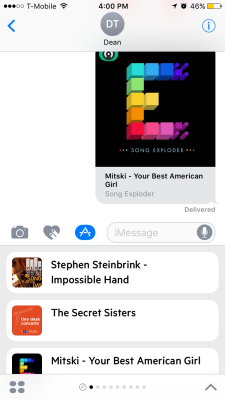 Castro's iMessage app lets you share podcasts.