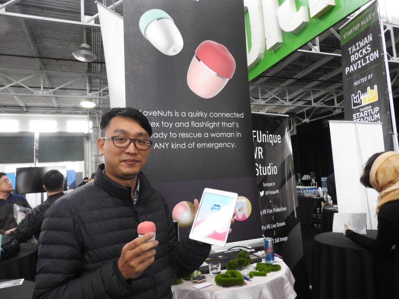 Donald Hsu shows off the Love Nuts sex toy.