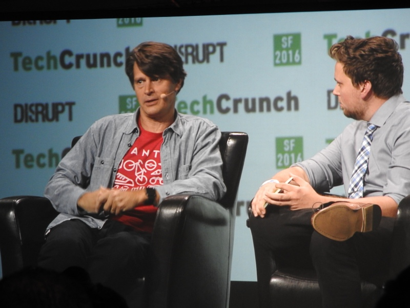 John Hanke, CEO of Niantic Labs, maker of Pokémon Go, and Greg Kumparak of Techcrunch.