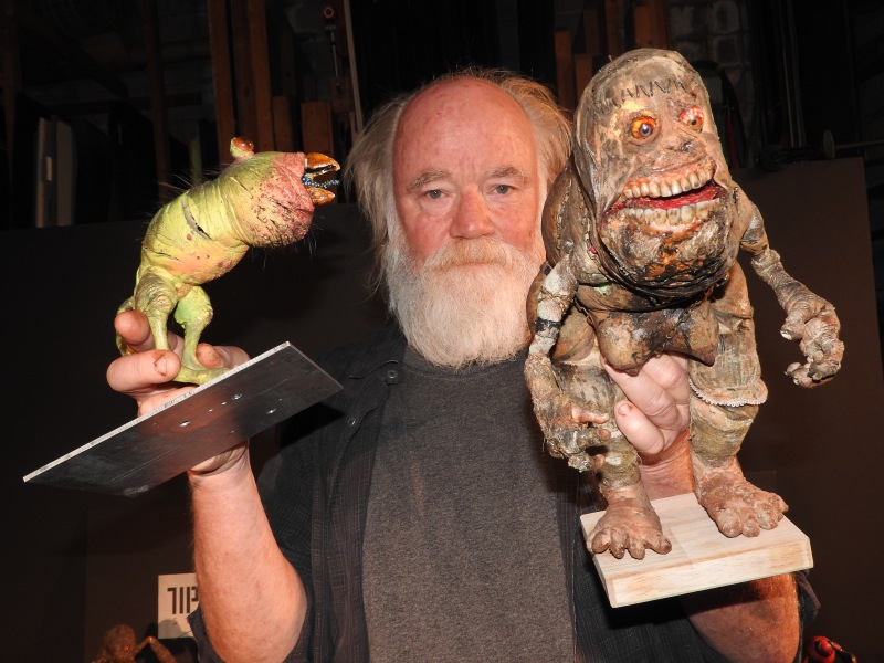 Phil Tippett, founder of Tippett Studio, shows off creatures he hand-crafted for HoloGrid: Monster Battle.