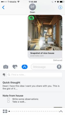 Evernote's iMessage app.