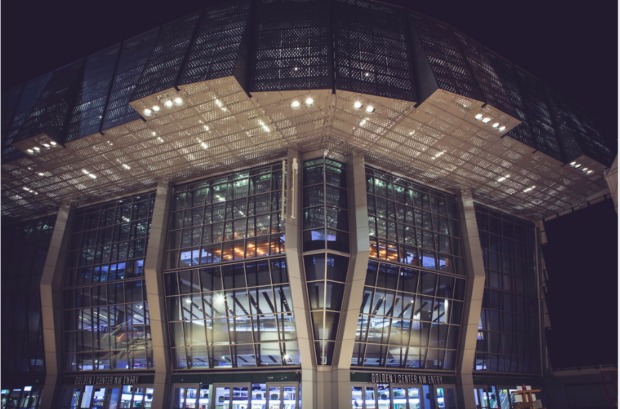 The main entrance of The Golden 1 Center is made up of giant airplane hangar doors that retract in nice weather.