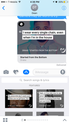 Genius' iMessage app in action.