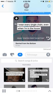 Genius' iMessage app in action.