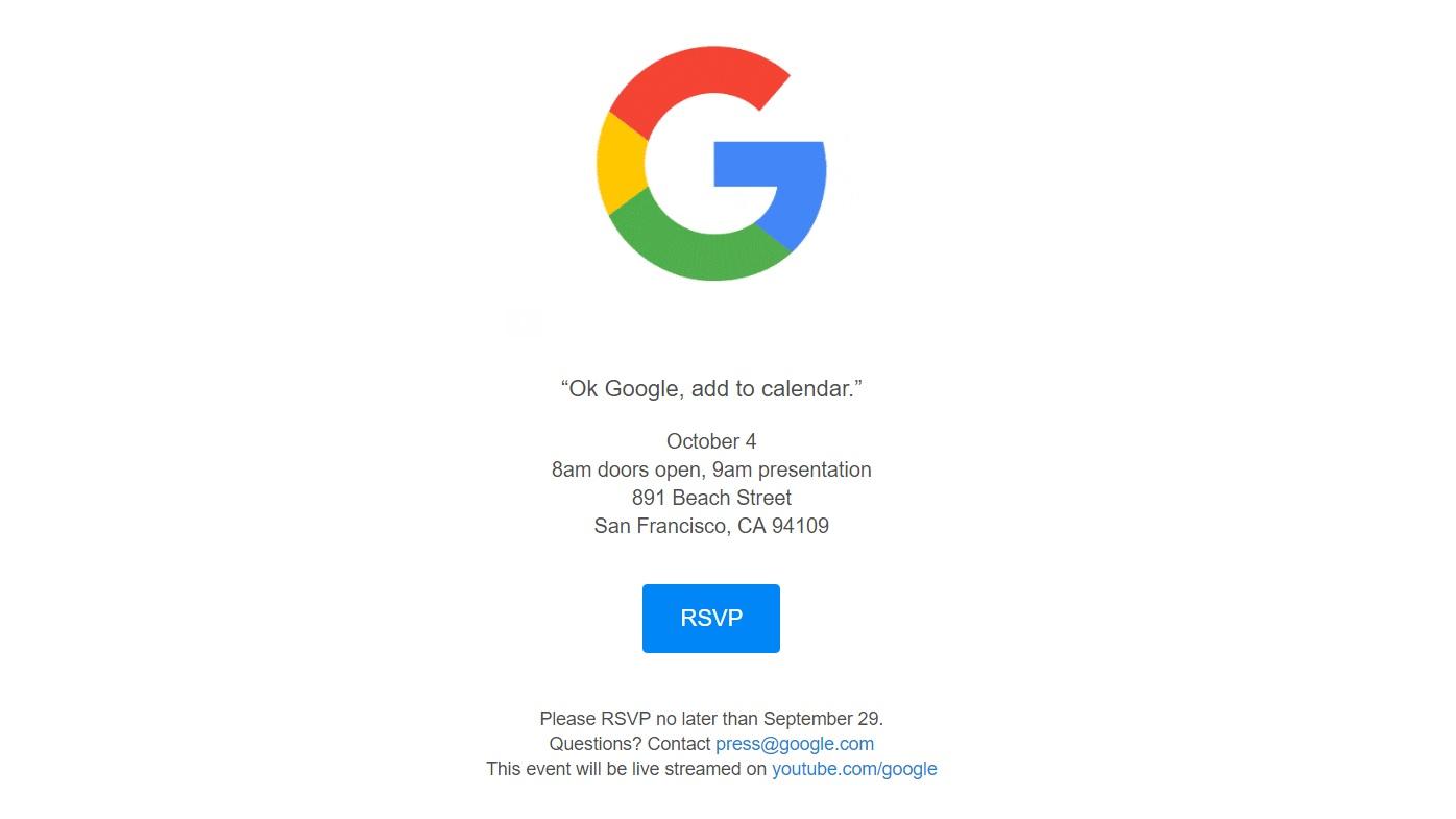 google sends invitations for october 4 hardware event venturebeat. Black Bedroom Furniture Sets. Home Design Ideas