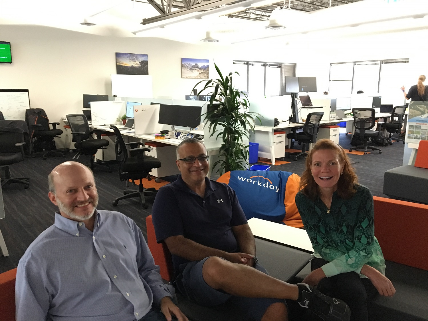 From left, GridCraft cofounder and chief technology officer and Workday fellow Terry Olkin, GridCraft cofounder and chief operating officer and Workday vice president of software development Sayan Chakraborty, and GridCraft cofounder and chief executive and Workday vice president of corporate strategy Lisa Reeves.