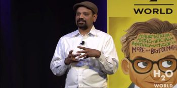 H2O cofounder and CEO Sri Ambati speaks at the startup's 2015 H2O World conference in Mountain View, California.
