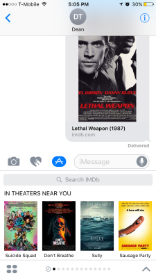 IMDb's iMessage app.