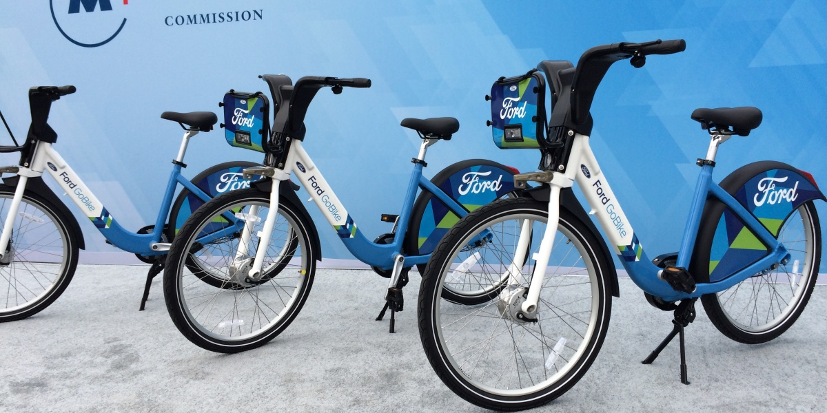 FordGoBikes on stage at a Ford press conference held in Civic Center Plaza in San Francisco Sept. 9, 2016 to announce the launch of the FordGo Bikes program for San Francisco and Oakland