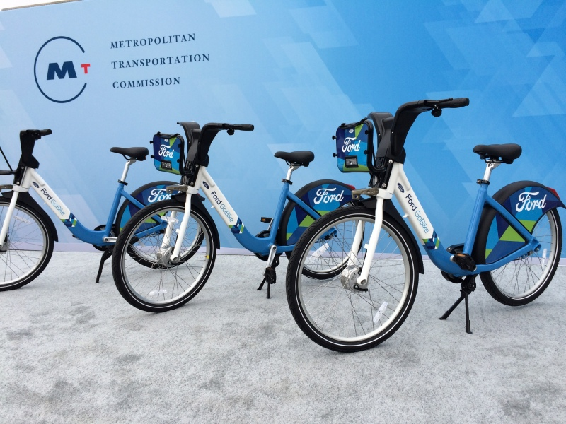 FordGoBikes by Mobility on stage at a Ford press conference held in Civic Center Plaza in San Francisco Sept. 9, 2016.