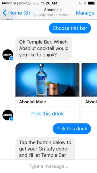 Screenshot of Absolut Facebook Messenger bot