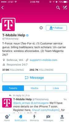 T-Mobile Help Twitter account