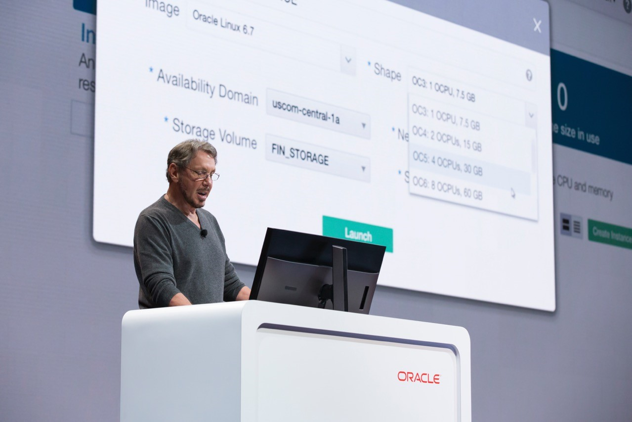 Oracle cofounder and chief technology officer Larry Ellison demonstrates Oracle's second-generation cloud infrastructure onstage at the Oracle OpenWorld conference in San Francisco on September 20, 2016.