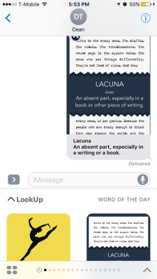 LookUp's iMessage app.