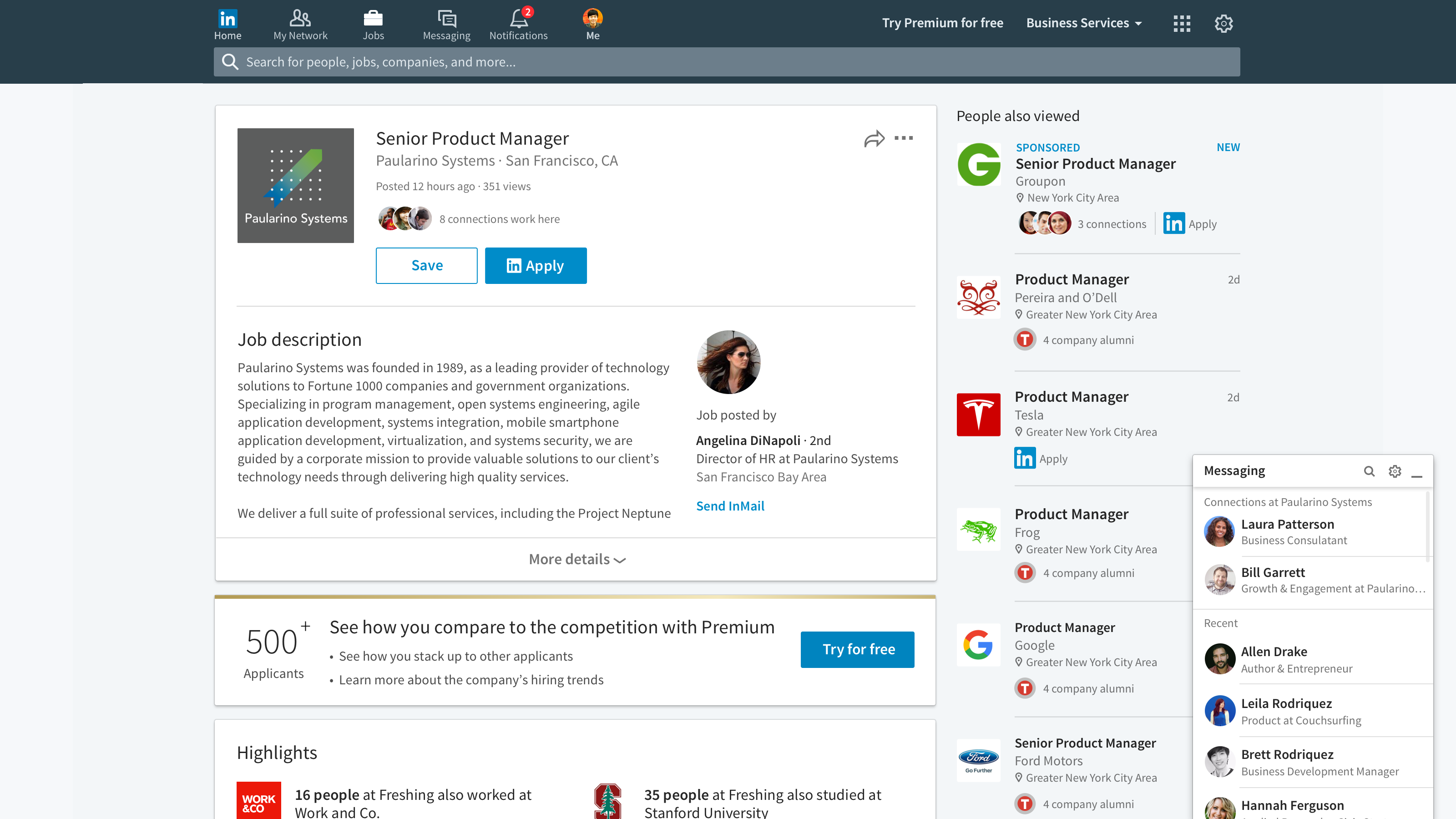 LinkedIn Messaging now understands context of the conversation, shown here with the social network's 2016 redesign.