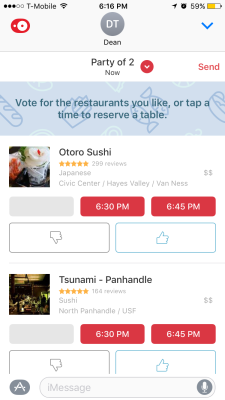 OpenTable's iMessage app.