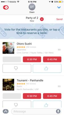 OpenTable's iMessage app.