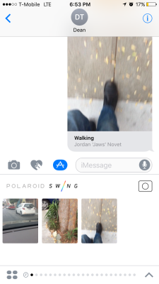 Polaroid Swing's iMessage app.