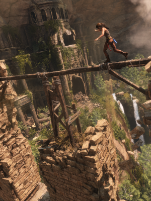 Lara Croft lives on the edge in Rise of the Tomb Raider.