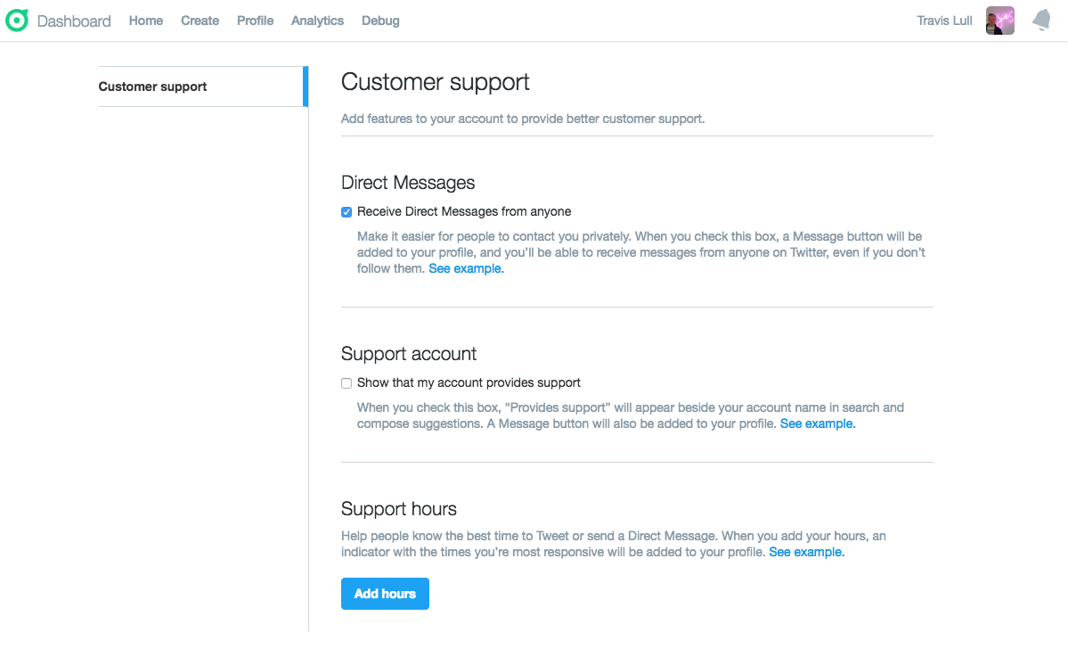 Customer support settings page on Twitter's account dashboard.