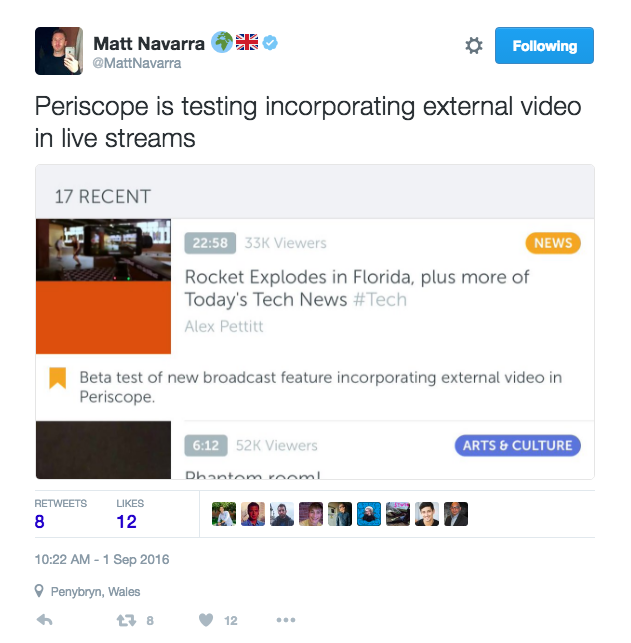 Matt Navarra tweet Periscope