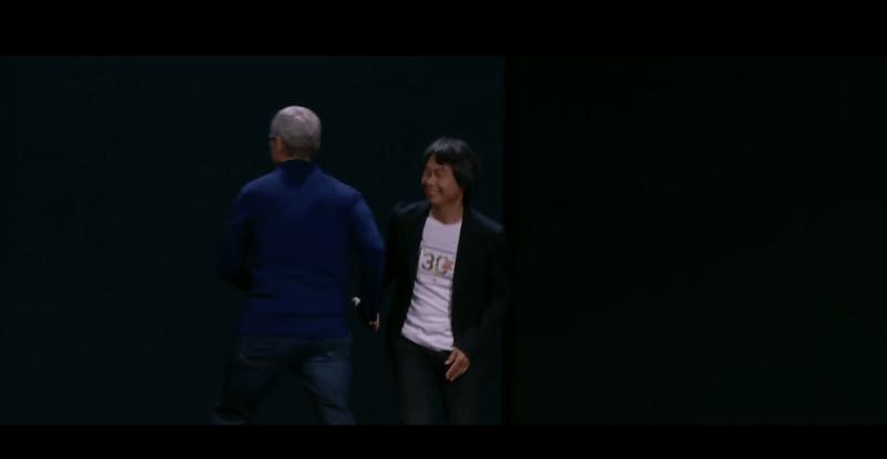 Shigeru Miyamoto on stage at Apple's event.