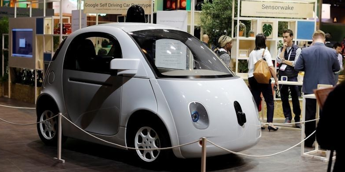 This is a photo of A self-driving car by Google is displayed at the Viva Technology event in Paris, France, June 30, 2016.