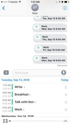 TimeTree's iMessage app.