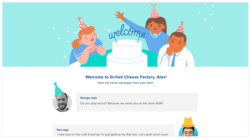 """A """"welcome wall"""" email sent through Gusto's HR offering."""