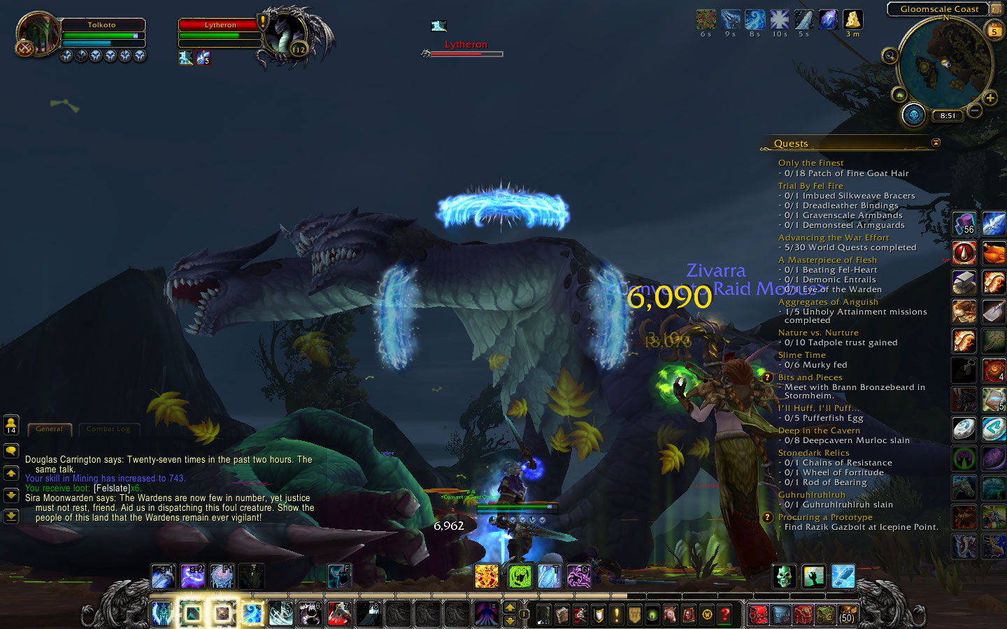 Fighting a dragon as part of a world quest.