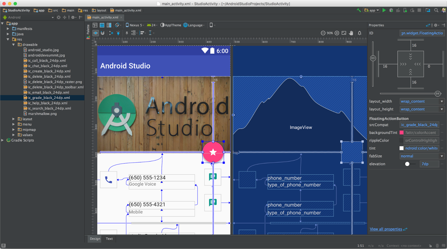 Android Studio Design Surface Constraint Layout