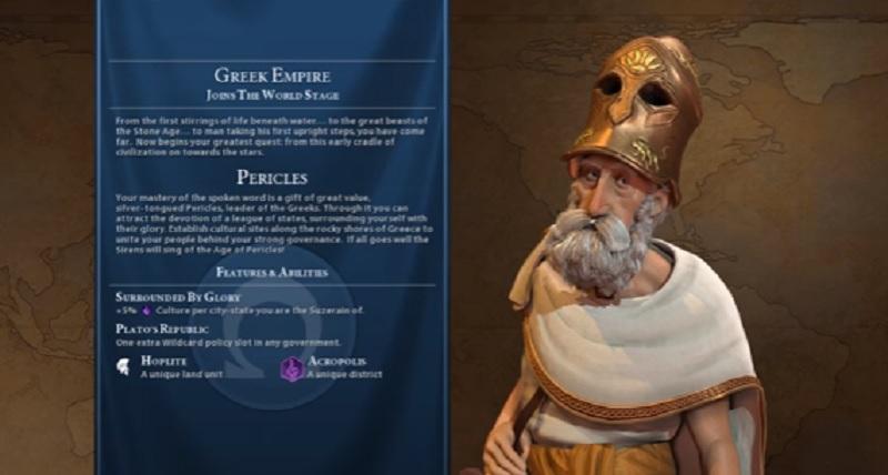 Pericles leads the Greeks in Civilization VI.