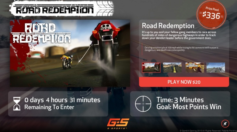 If you can get the best score, you can win real money in Road Redemption in Gamblit's G-Sports platform.