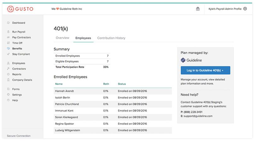 Managing 401 (k) accounts in Gusto.