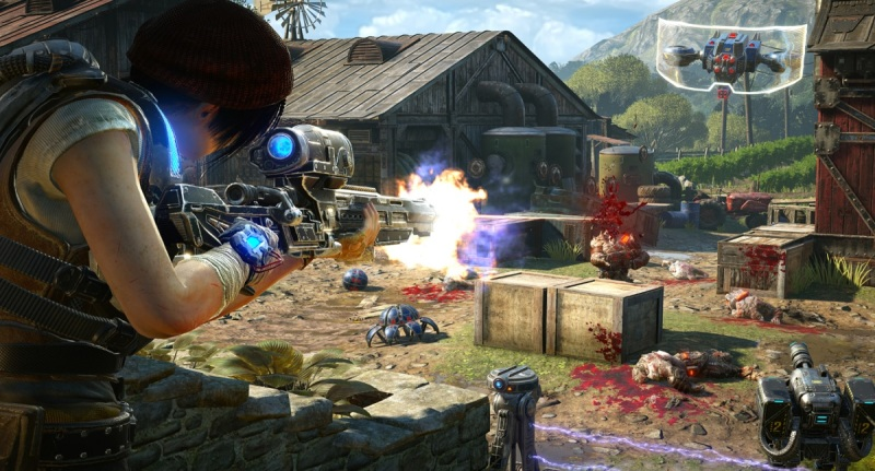 The sniper takes down the big targets in Gears of War 4's Horde 3.0 co-op mode.