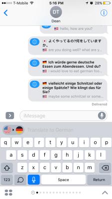 iTranslate translating in iMessage.