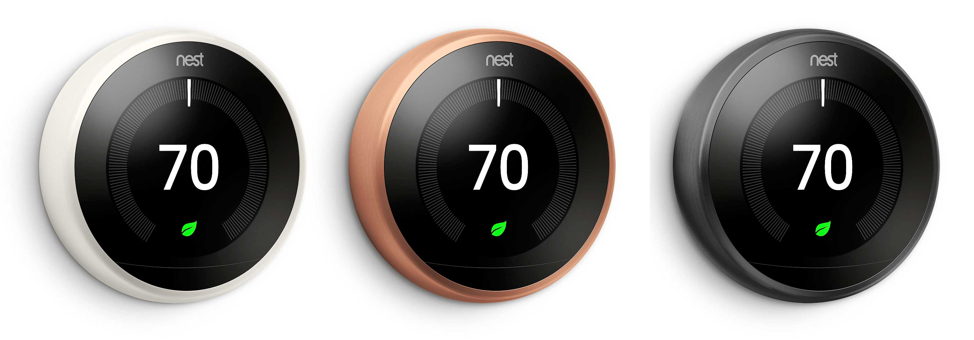 Nest's smart thermostat is now available in 3 new colors: White, copper, and black.