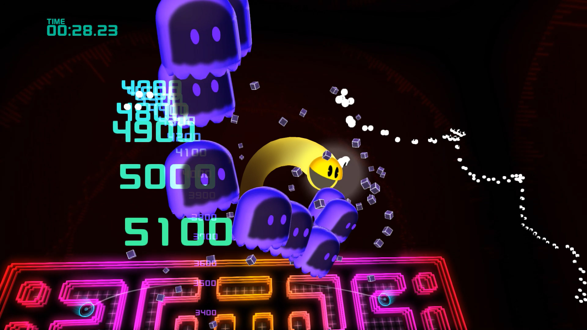 Pac-Man Championship Edition 2 goes into cutscenes when you eat a train of ghosts.