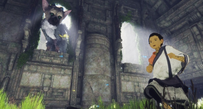 Trico and the boy inside the temple in The Last Guardian.