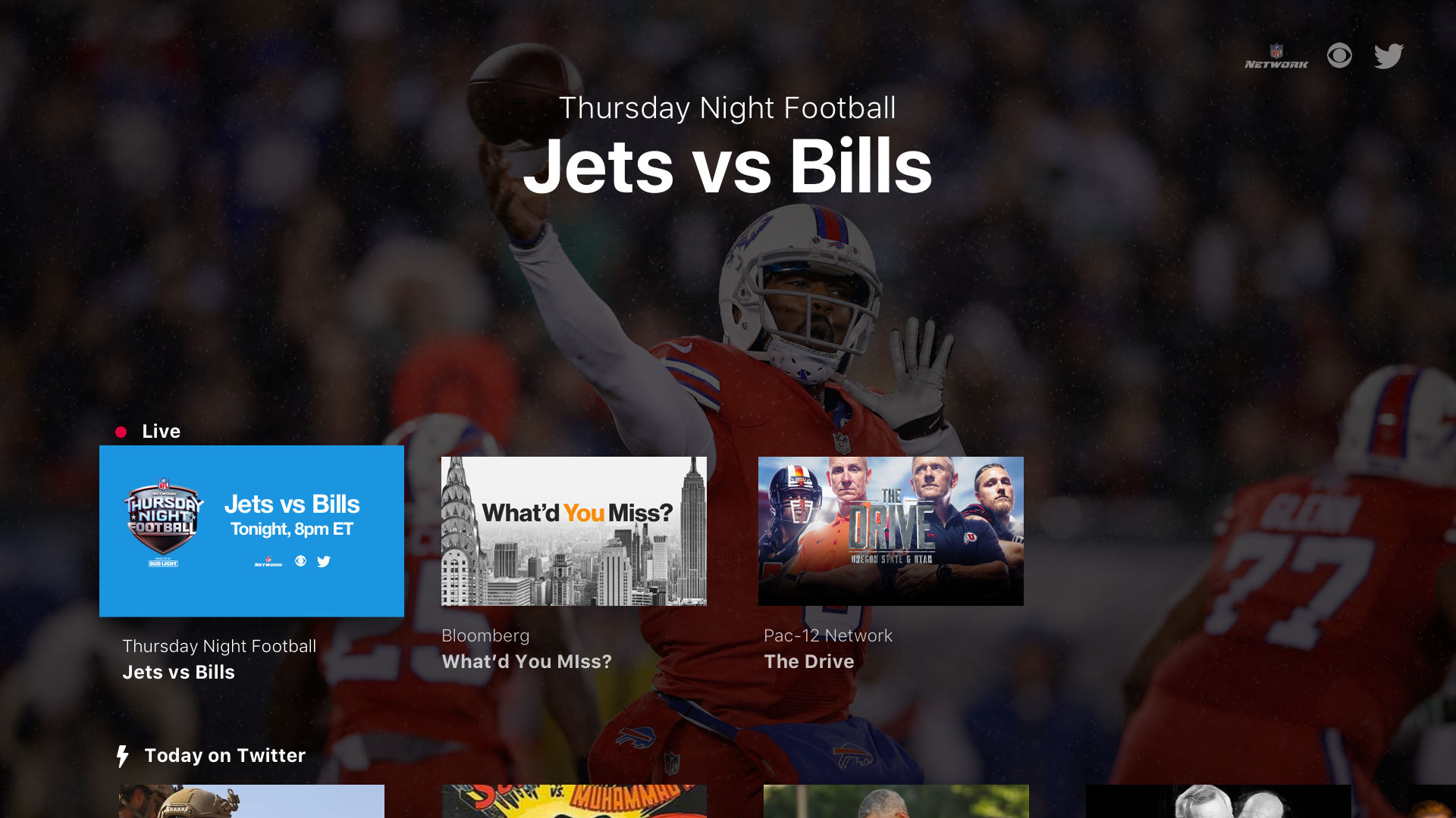 Twitter's Apple TV app home screen.
