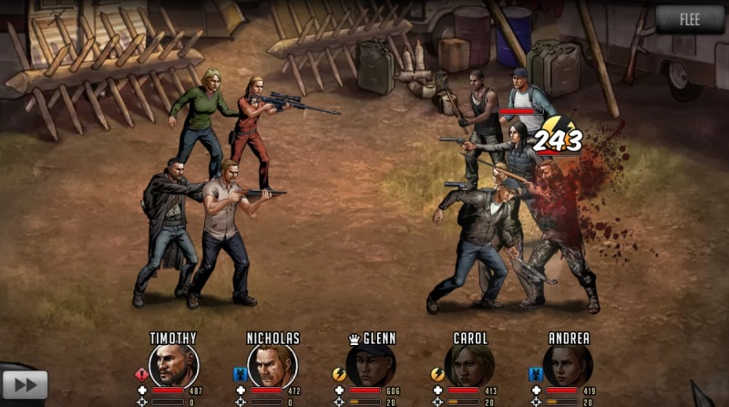 Player-versus-player combat in The Walking Dead: Road to Survival.