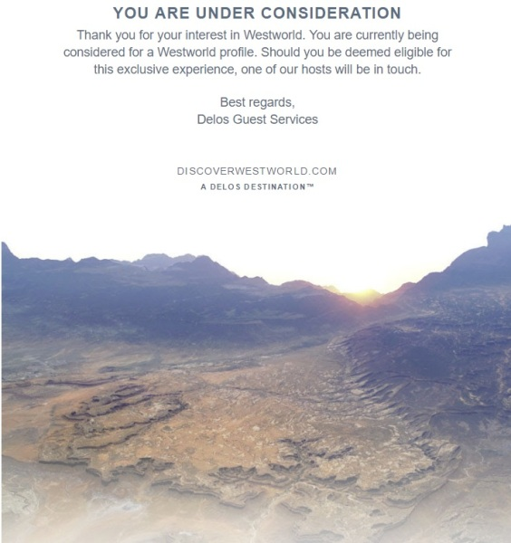 My reply from the Discover Westworld site.