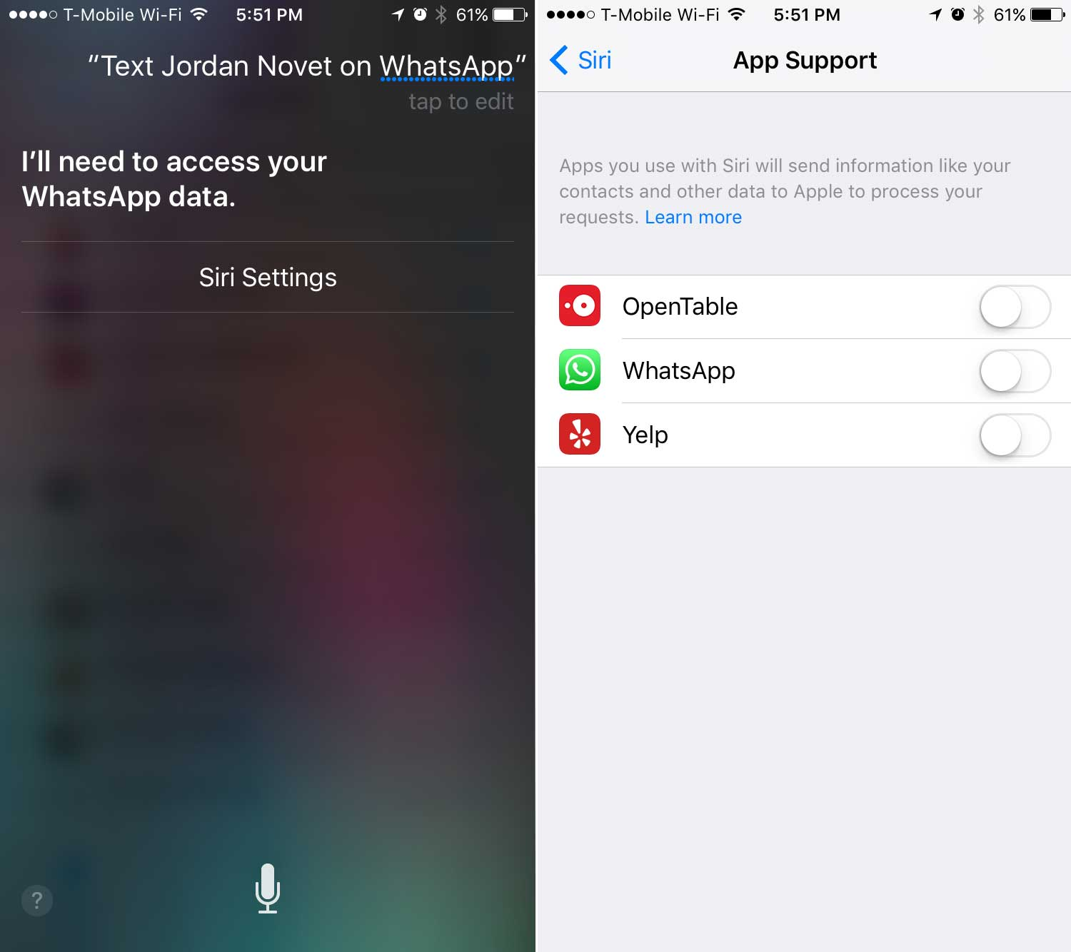 Accessing Siri to send messages and make voice calls in WhatsApp.