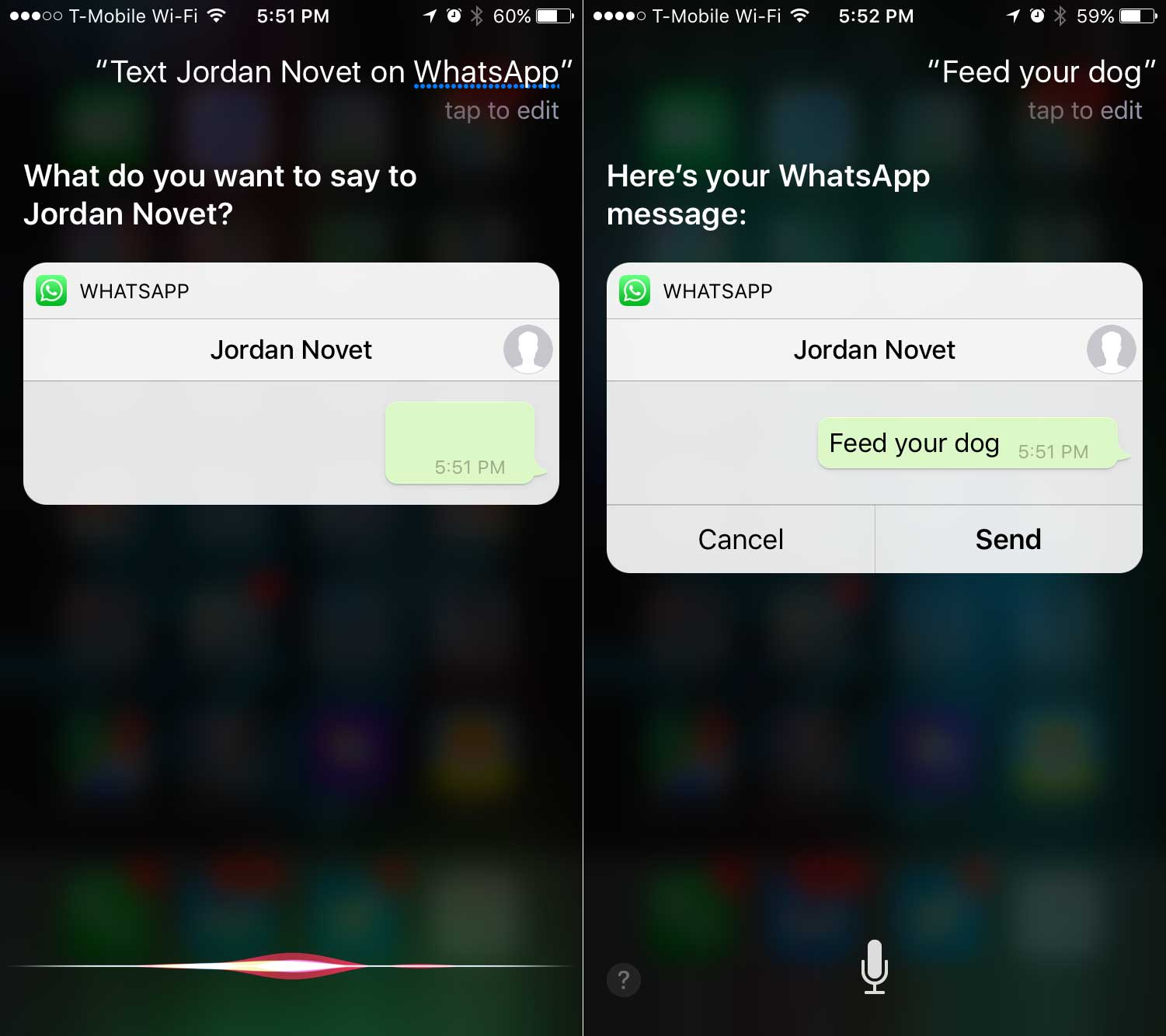 Using Siri to compose a message in WhatsApp's iOS 10 app.