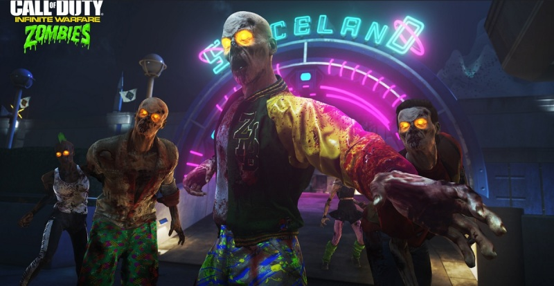Zombies has a realistic art style, with a ton of color splashed all over it.